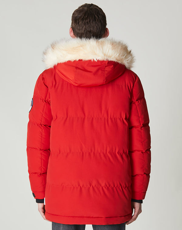 BELLFIELD NAMRU FUR TRIM OVERSIZED MENS MOUNTAIN PARKA | TOMATO