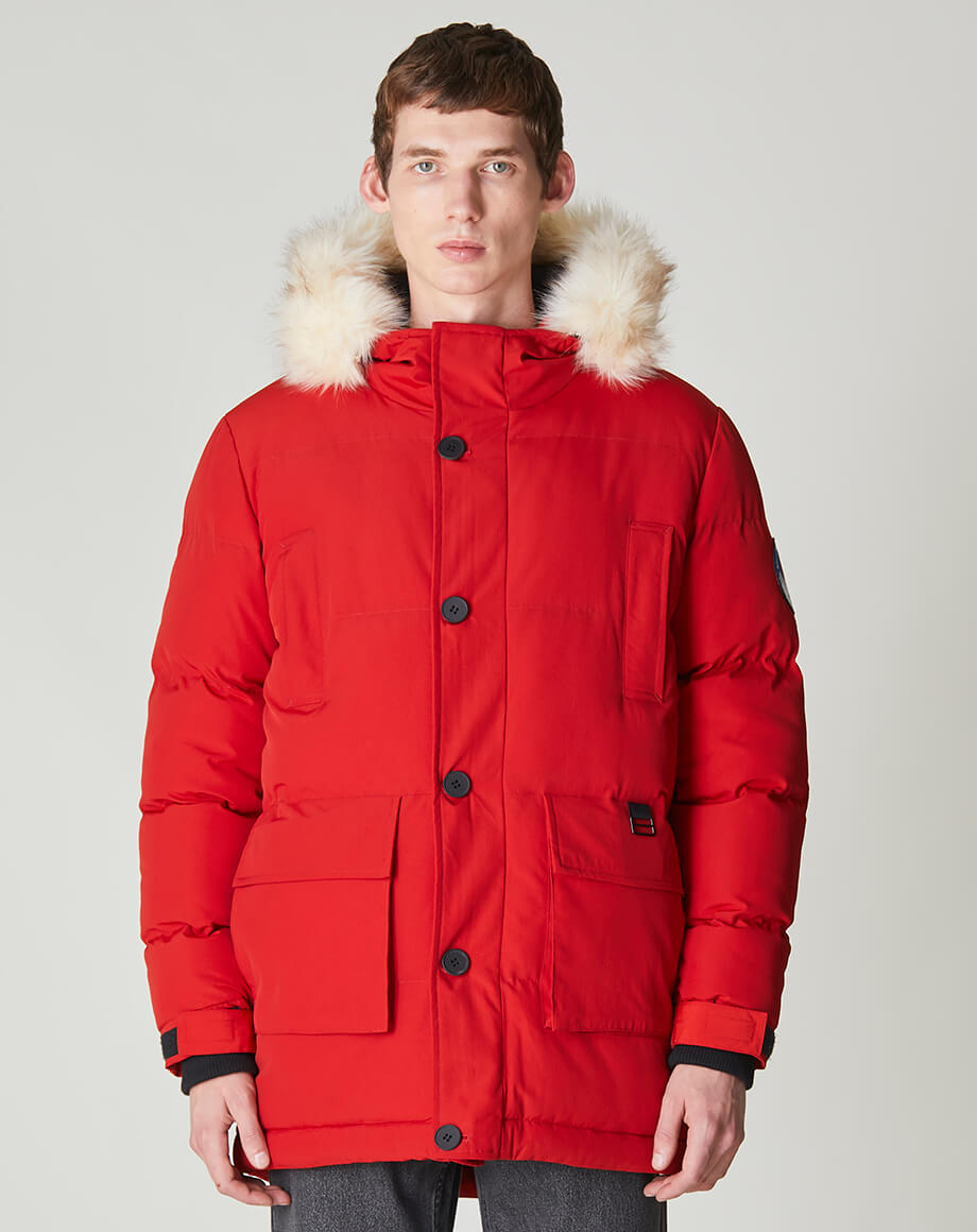BELLFIELD NAMRU FUR TRIM OVERSIZED MENS MOUNTAIN PARKA JACKET | TOMATO