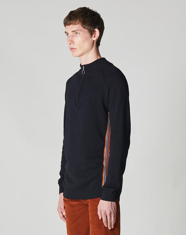 BELLFIELD OPAL FUNNEL ZIP NECK MENS KNIT JUMPER | BLACK