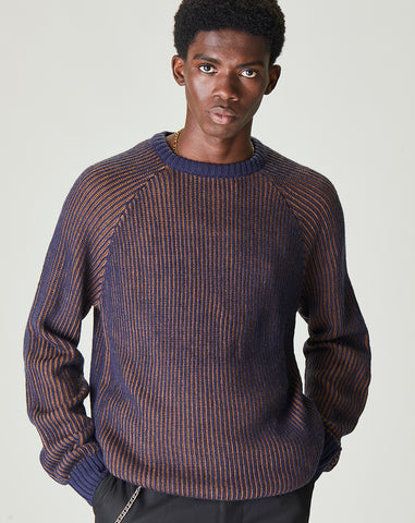 BELLFIELD SELKIRK TWO TONE RIB KNIT CREW NECK MENS JUMPER | GINGER & BLUE