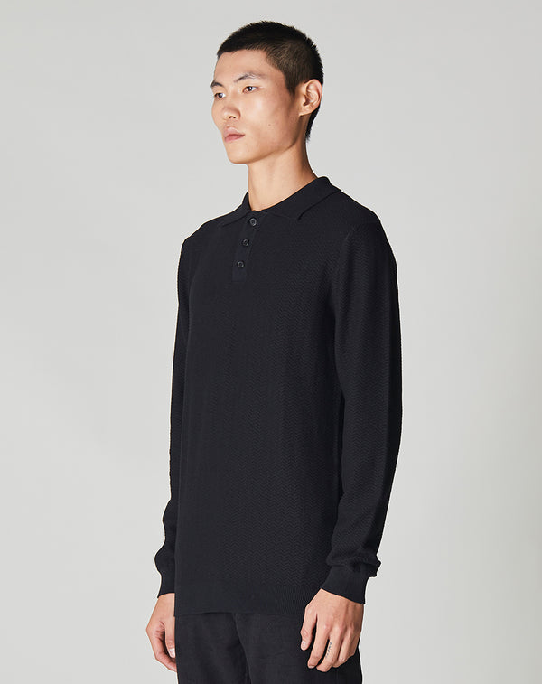 BELLFIELD SPECTOR KNITTED POLO | BLACK