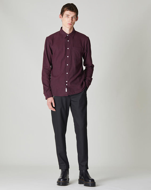 BELLFIELD SUOMI LONG SLEEVE FLANNEL MENS SHIRT | BURGUNDY