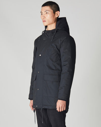BELLFIELD TOMRA OVERSIZED SHERPA LINED MENS PARKA | BLACK