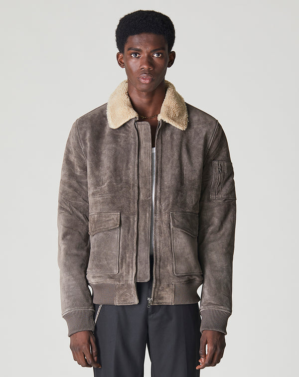 BELLFIELD TULSA SHERPA COLLAR SUEDE AVIATOR MEN'S JACKET  | ANTHRACITE