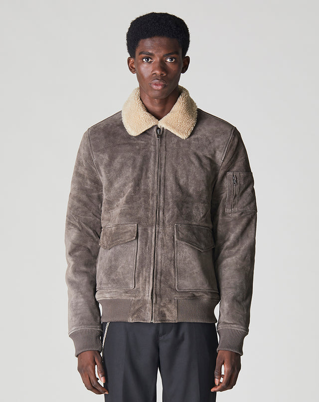 BELLFIELD TULSA SHERPA COLLAR SUEDE AVIATOR MENS JACKET  | ANTHRACITE