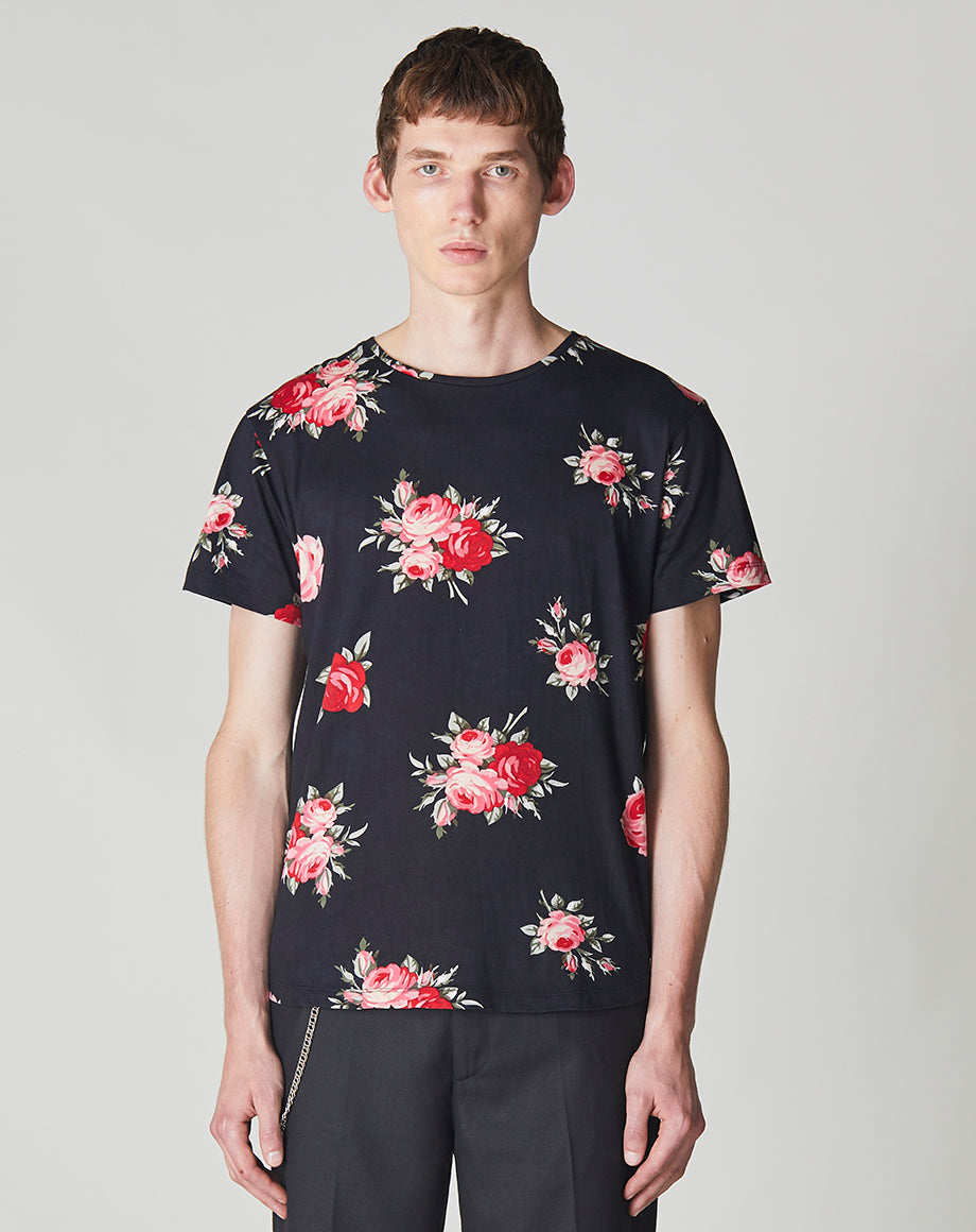 BELLFIELD VILLISKA ROSE PRINT MEN'S T-SHIRT | BLACK