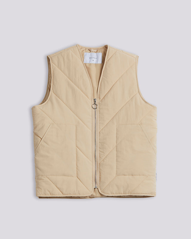 BELLFIELD YALLA LIGHTWEIGHT QUILTED MEN'S GILET | SANDALWOOD