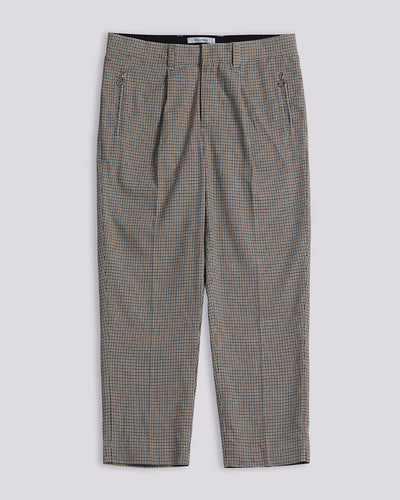 BELLFIELD PIAZZA HOUNDSTOOTH CHECK TAILORED MEN'S TROUSER | MUSHROOM