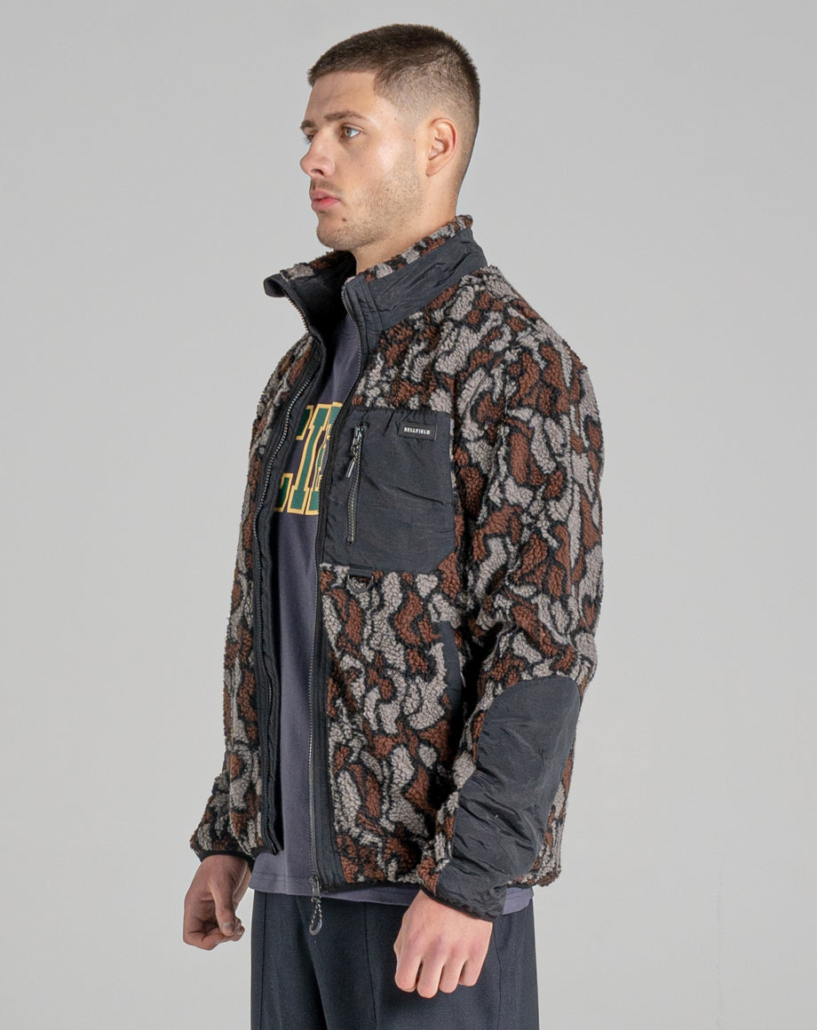 BELLFIELD OCELOT SHERPA FLEECE FUNNEL NECK MENS JACKET | CAMO