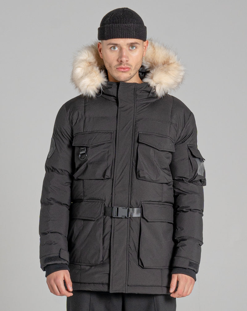 BELLFIELD MASSIF FUR TRIM MOUNTAIN MENS PARKA JACKET | BLACK