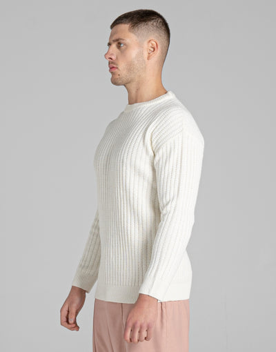 BELLFIELD BRAC TEXTURED MENS JUMPER | IVORY