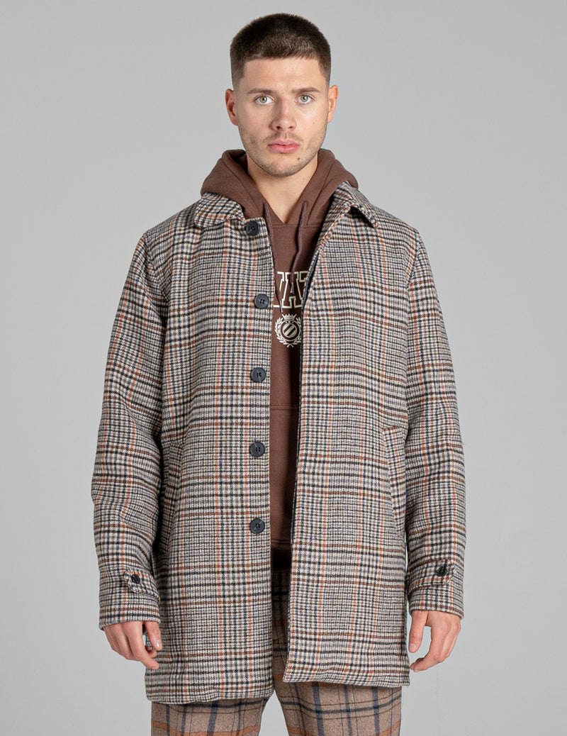 BELLFIELD HERBST CHECK MEN'S OVERCOAT | GREY