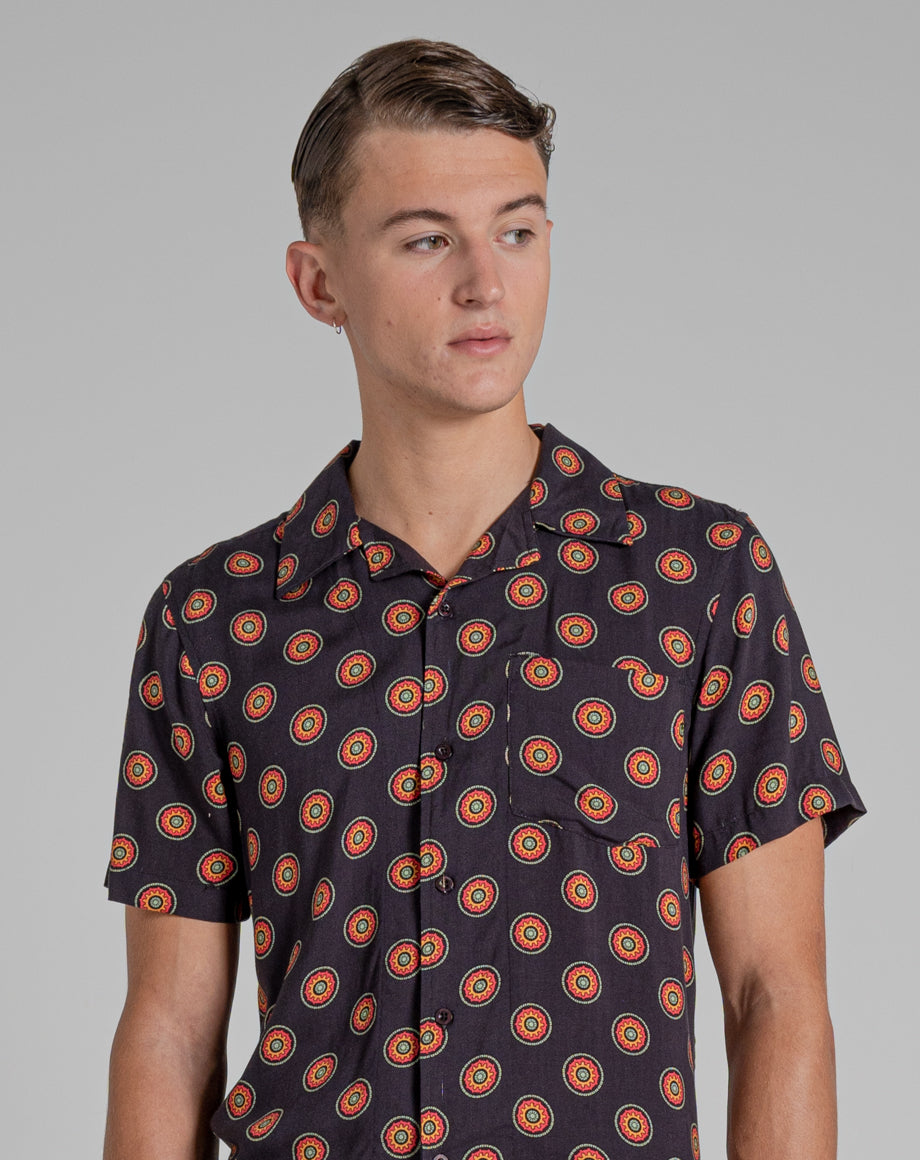 BELLFIELD MORENA PRINTED MENS SHIRT | BLACK