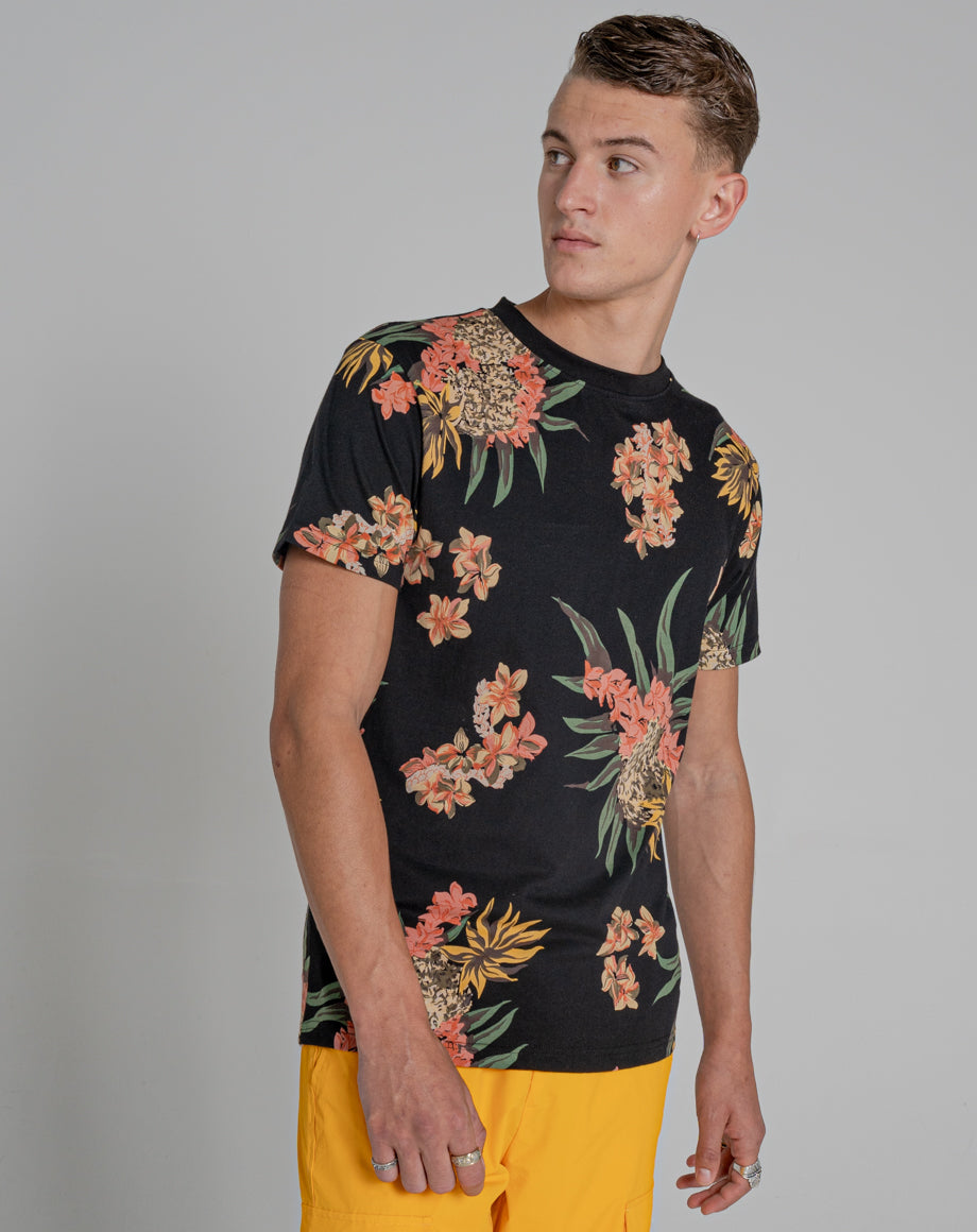 BELLFIELD TROY PRINTED MENS ORGANIC T-SHIRT | BLACK