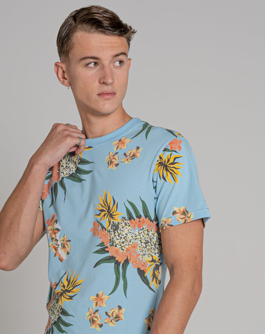 BELLFIELD TROY PRINTED MENS ORGANIC T-SHIRT | PALE BLUE