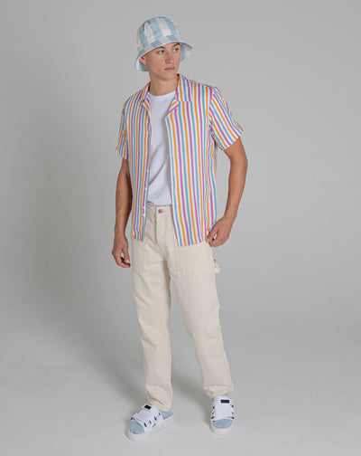 BELLFIELD TRIBECA STRIPE MENS SHIRT | WHITE