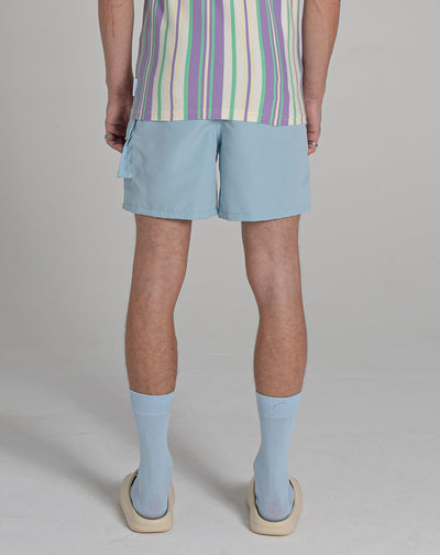 BELLFIELD MOZAMBIQUE PRINT MENS SWIM SHORTS | PALE BLUE