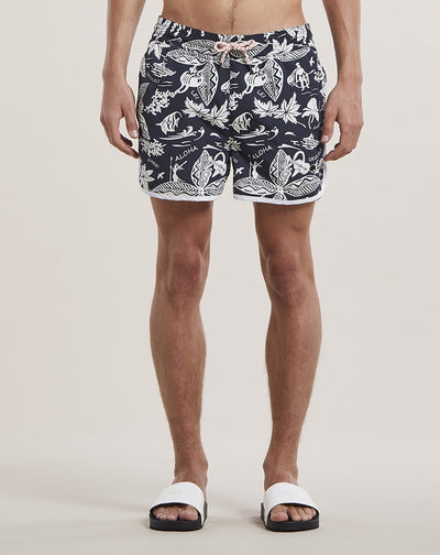 BELLFIELD ALOHA PRINT MENS SWIM SHORTS | BLACK