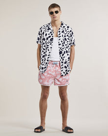 BELLFIELD ALOHA PRINT MEN'S SWIM SHORTS | CORAL
