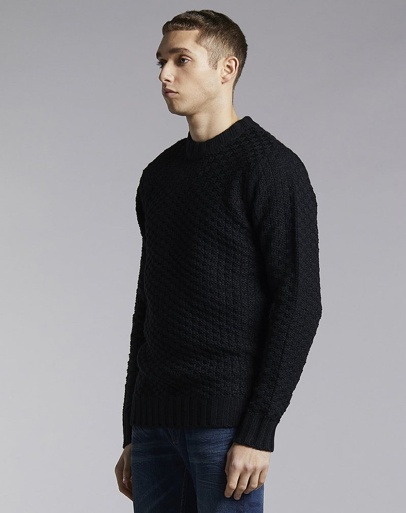 BELLFIELD ALROY KNIT MENS JUMPER | BLACK