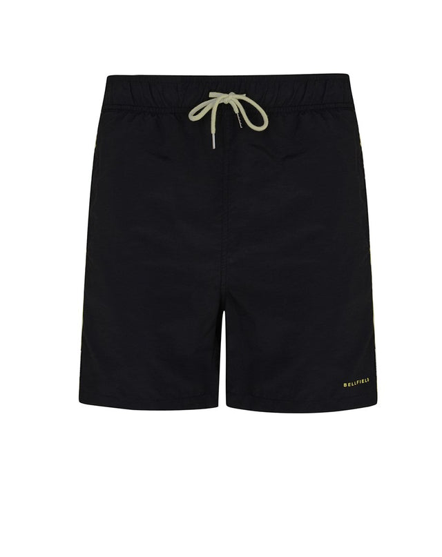 BELLFIELD BABIN MENS SWIM SHORTS WITH STRIPES | BLACK