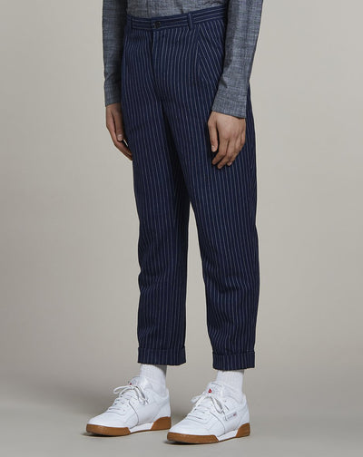 BELLFIELD BARI PINSTRIPED MENS TROUSERS | NAVY