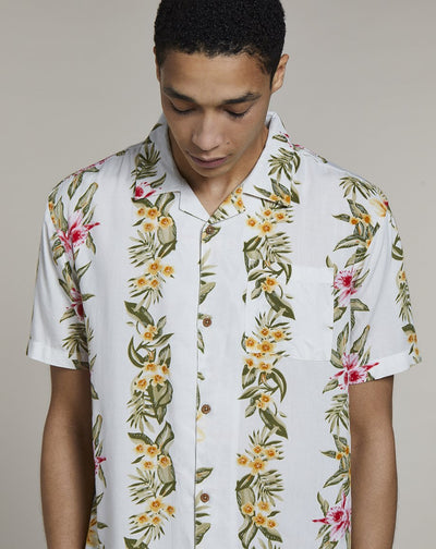 BELLFIELD BLONDIE HAWAIIAN PRINT MENS SHIRT | WHITE