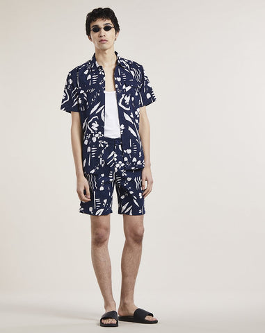 BELLFIELD BREGENZ PRINTED MENS SHORTS | NAVY