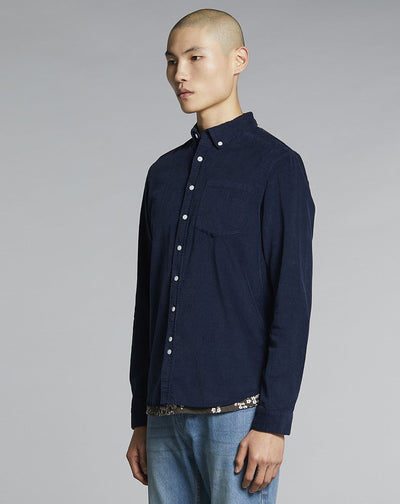 BELLFIELD CAESER CORD MENS SHIRT | NAVY