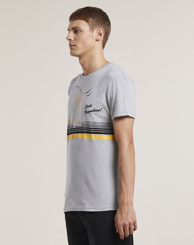 BELLFIELD CHAMLEE BEACH PRINT MENS T-SHIRT | GREY MARL