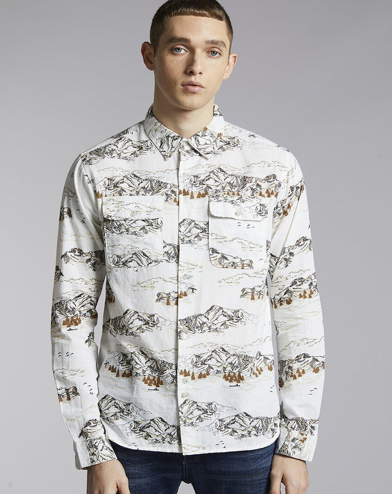 BELLFIELD CHEYENNE MOUNTAIN PRINT MENS SHIRT | WHITE