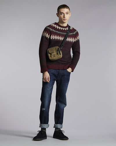 BELLFIELD COEN BRUSHED KNIT MENS JUMPER | PORT