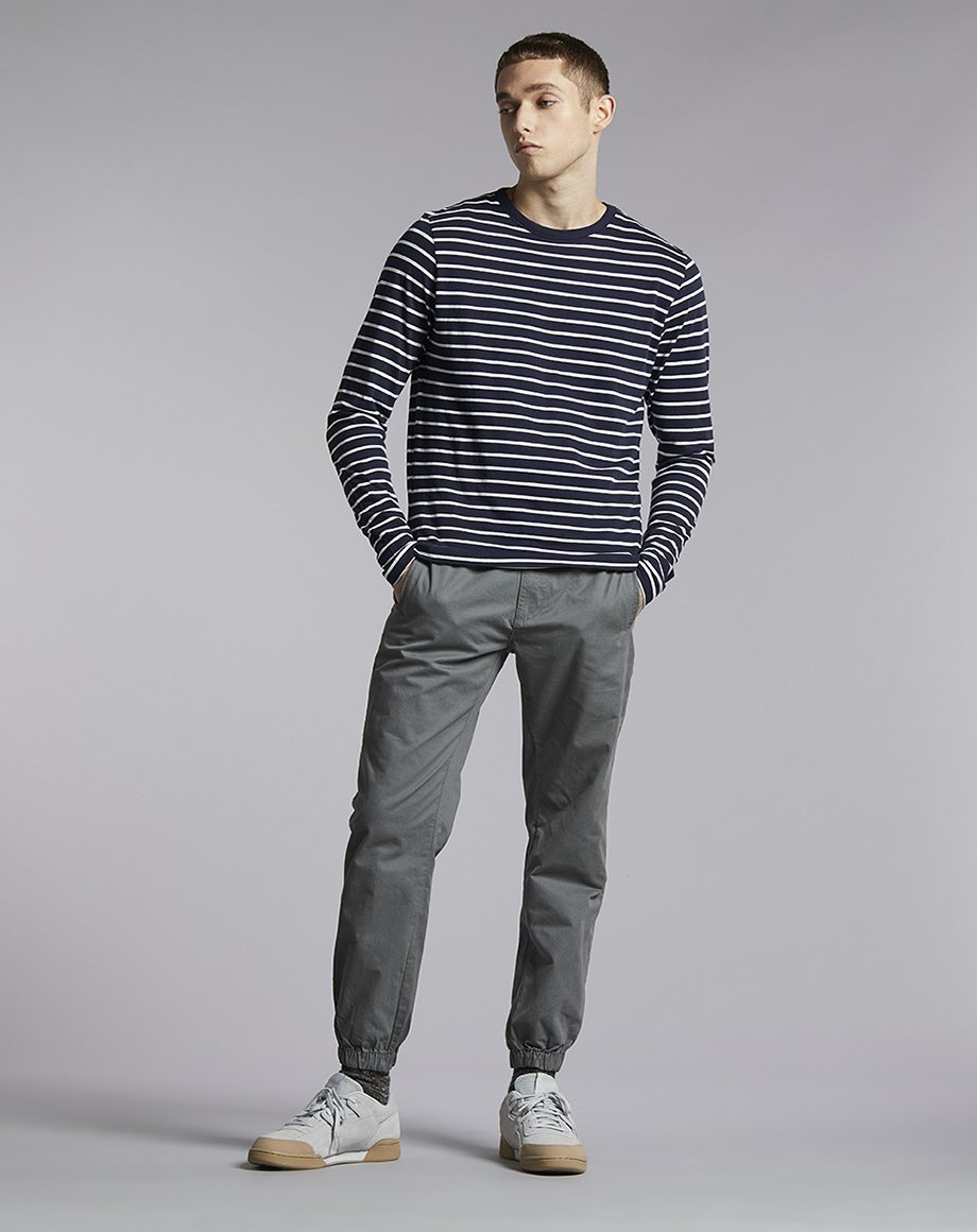 BELLFIELD DANIOVA STRIPE LONG SLEEVE MENS T-SHIRT | NAVY/OFF WHITE