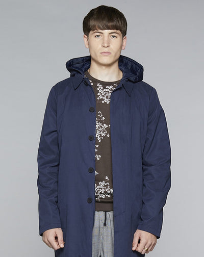 BELLFIELD DORI HOODED MENS MAC | NAVY