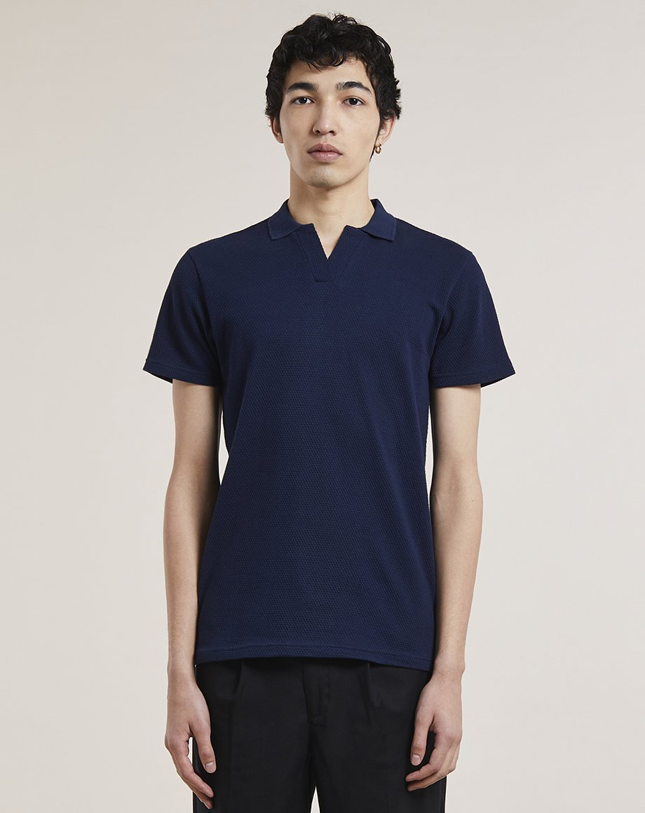 BELLFIELD EINAR TEXTURED MENS T-SHIRT | NAVY