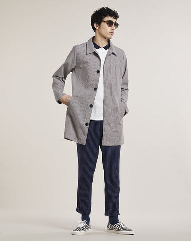 BELLFIELD ELMER CHECKED MENS MAC | STONE CHECK