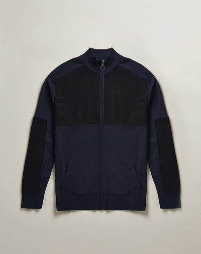 BELLFIELD EZA ZIP THROUGH MENS CARDIGAN | NAVY