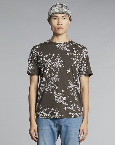 BELLFIELD FLORO PRINTED MENS T-SHIRT | BROWN / OLIVE