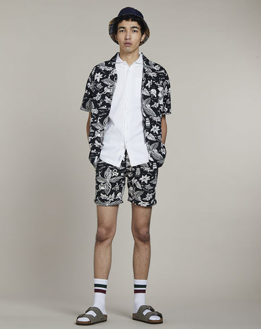 BELLFIELD KAILUA PRINTED MENS SHORTS | BLACK