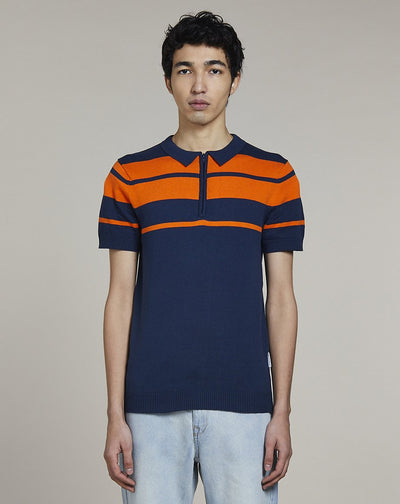 BELLFIELD KAYDEN SHORT SLEEVE KNITTED MENS POLO SHIRT | NAVY