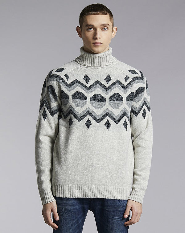 BELLFIELD KILBRECK ROLL NECK MENS JUMPER | GREY
