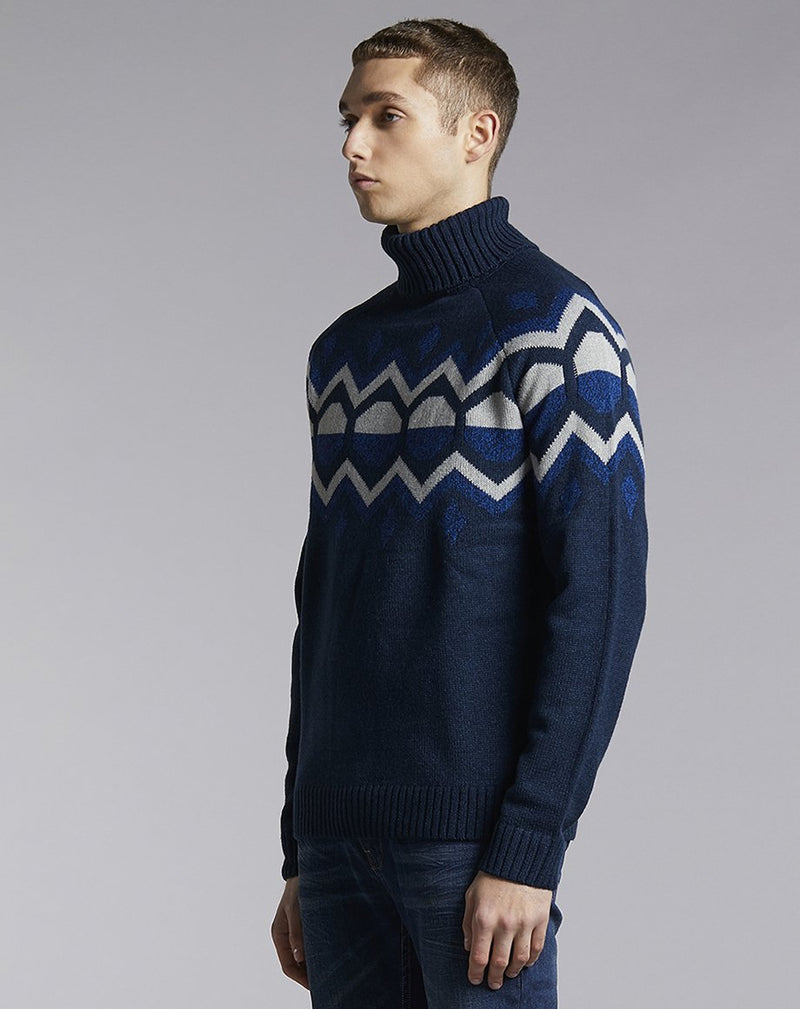 BELLFIELD KILBRECK ROLL NECK MENS JUMPER | NAVY