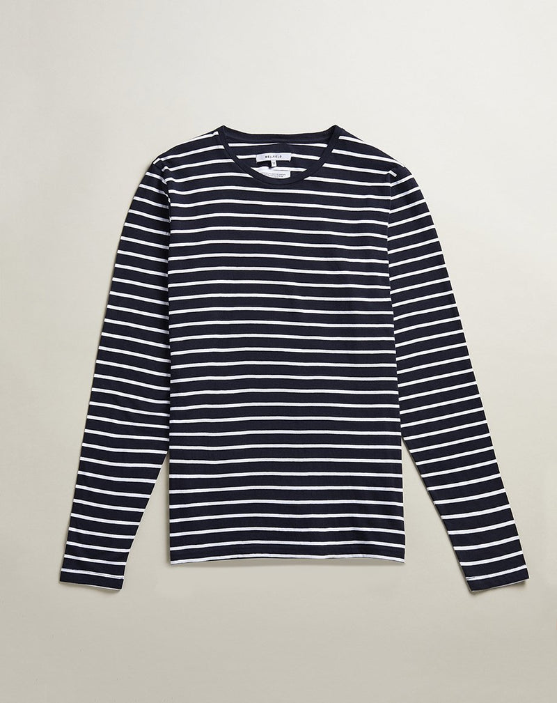 BELLFIELD LINN LONG SLEEVE MENS T-SHIRT | NAVY