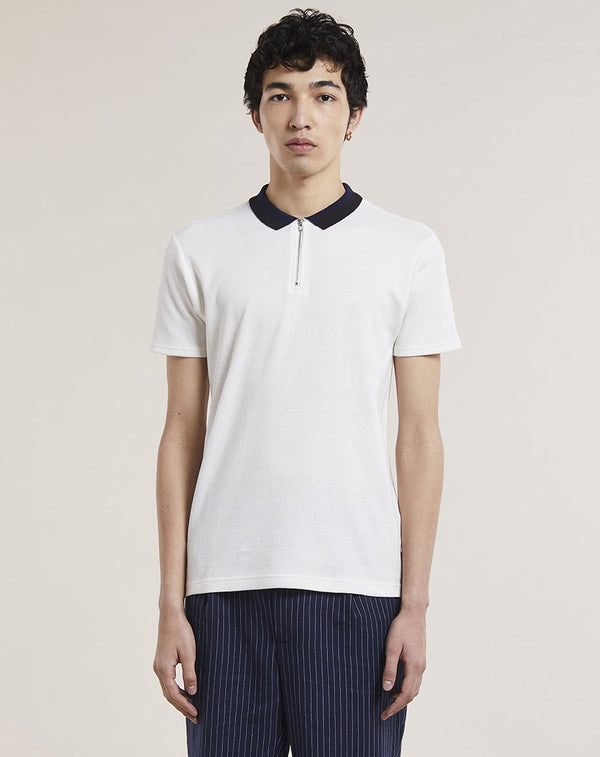 BELLFIELD LIONA ZIP NECK  MENS POLO SHIRT | OFF WHITE