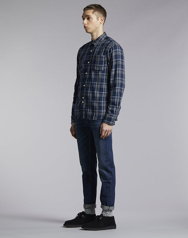 BELLFIELD MANITOBA CHECK MENS SHIRT | NAVY