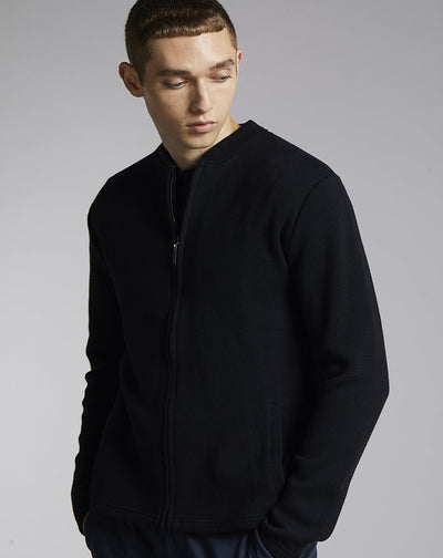 BELLFIELD MOASE TECH ZIP MENS CARDIGAN | BLACK