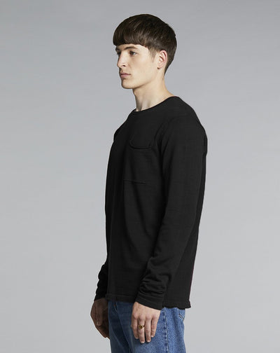 BELLFIELD NILES FINE KNIT MENS JUMPER | BLACK