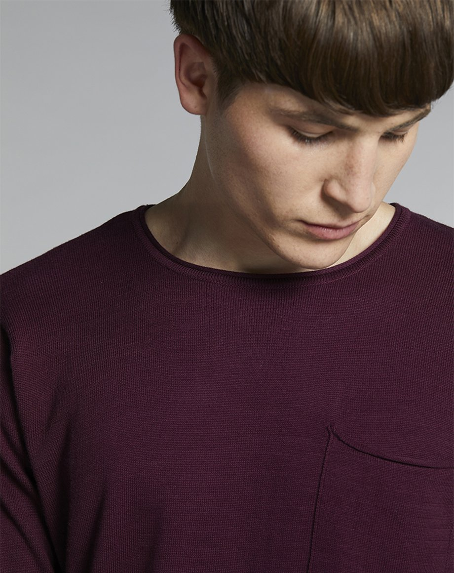 BELLFIELD NILES FINE KNIT MENS JUMPER | PLUM