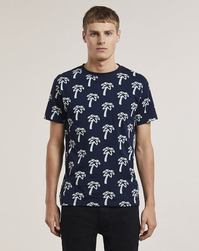 BELLFIELD NILS PRINTED MENS T-SHIRT | NAVY
