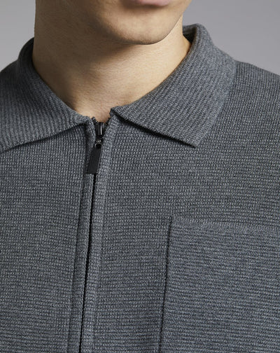 BELLFIELD NORKKA ZIP MENS CARDIGAN | LIGHT GREY